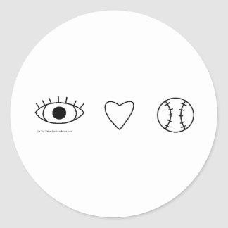 I Heart BASEBALL Classic Round Sticker