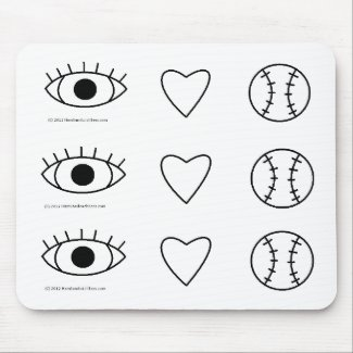 I Heart Baseball Mousepad mousepad