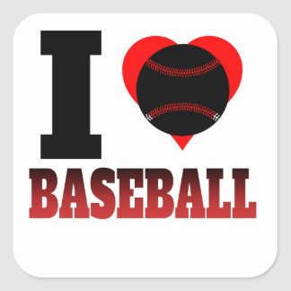 I Heart Baseball Square Sticker
