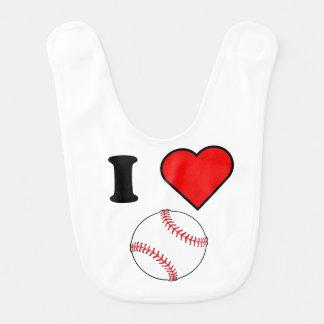 I Heart Baseball Bib