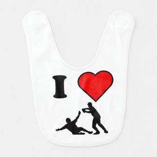 I Heart Baseball Baby Bibs