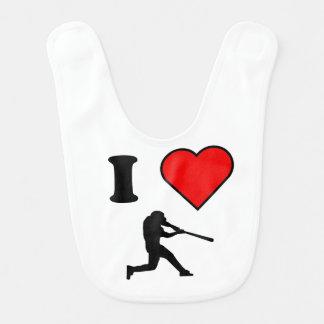 I Heart Baseball Baby Bib