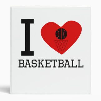 I Heart Basketball 3 Ring Binder