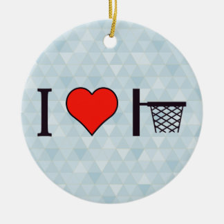 I Heart Basketball Double-Sided Ceramic Round Christmas Ornament