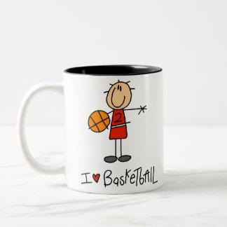 I Heart Basketball Two-Tone Coffee Mug