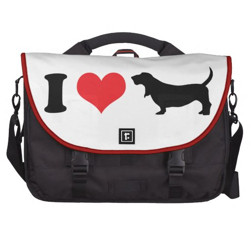 I Heart Basset Hounds Laptop Messenger Bag
