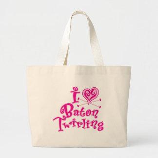 I Heart Baton Twirling Tote Bags