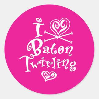 I Heart Baton Twirling Classic Round Sticker