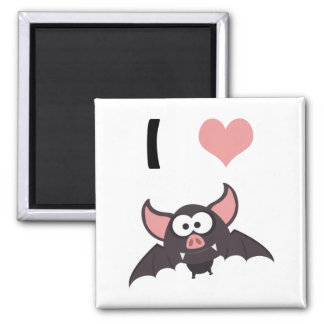 I heart bats 2 inch square magnet