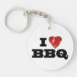 I Heart BBQ Funny Beef Steak Grill Keychain