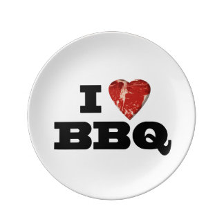 I Heart BBQ, Funny Beef Steak Grill Porcelain Plate