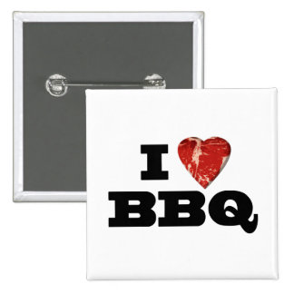 I Heart BBQ, Funny Beef Steak Grill Pinback Button