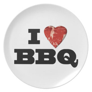 I Heart BBQ, Funny Beef Steak Grill Dinner Plates