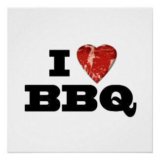 I Heart BBQ, Funny Beef Steak Grill Poster