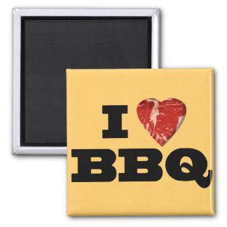 I heart BBQ, Steak Heart Shape Funny Grilling 2 Inch Square Magnet