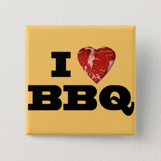 I heart BBQ, Steak Heart Shape Funny Grilling Button