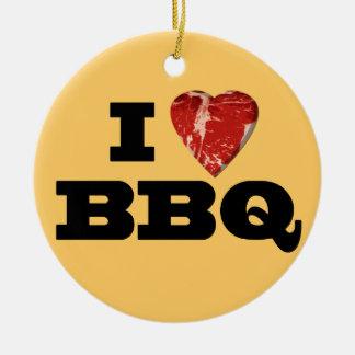 I heart BBQ, Steak Heart Shape Funny Grilling Ceramic Ornament