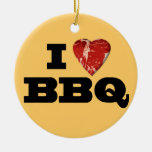 I heart BBQ, Steak Heart Shape Funny Grilling Double-Sided Ceramic Round Christmas Ornament