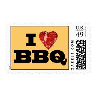 I heart BBQ, Steak Heart Shape Funny Grilling Stamp
