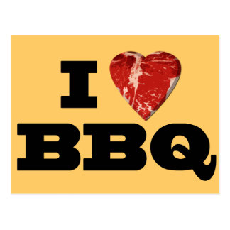 I heart BBQ, Steak Heart Shape Funny Grilling Postcard
