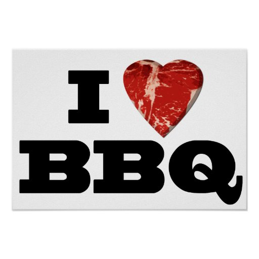 I heart BBQ, Steak Heart Shape Funny Grilling Print