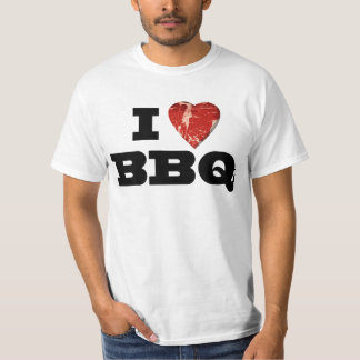I heart BBQ, Steak Heart Shape Funny Grilling T-Shirt