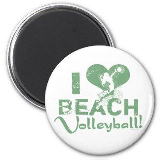 I Heart Beach Volleyball 2 Inch Round Magnet