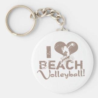 I Heart Beach Volleyball Basic Round Button Keychain