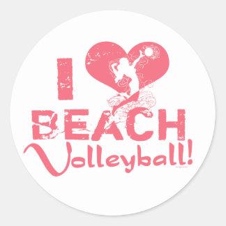 I Heart Beach Volleyball Classic Round Sticker