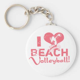 I Heart Beach Volleyball Keychain