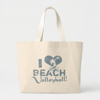 I Heart Beach Volleyball Large Tote Bag