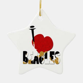 I heart Beagles Ceramic Ornament
