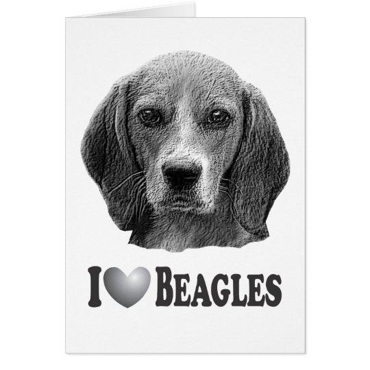 I Heart Beagles with Beagle Portrait Card