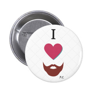 I Heart Beards Badge 2 Inch Round Button