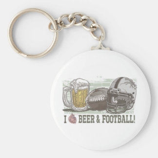 I Heart Beer and Football Basic Round Button Keychain