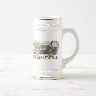 I Heart Beer and Football Beer Stein