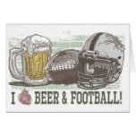 I Heart Beer and Football Greeting Card
