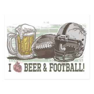 I Heart Beer and Football Postcard