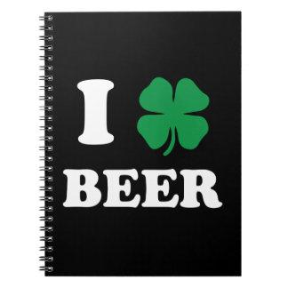 I Heart Beer Black Spiral Notebook