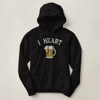 I Heart Beer Embroidery Customizable Embroidered Hoodie