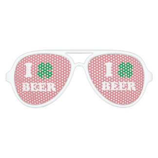 I Heart Beer Pink Aviator Sunglasses