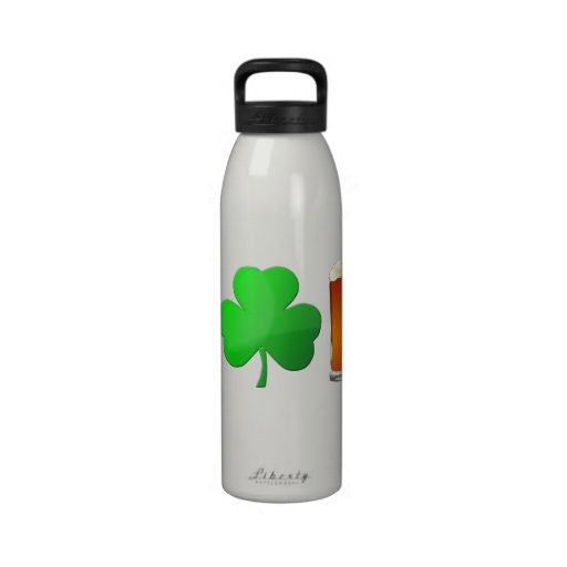I Heart Beer with Shamrock Reusable Water Bottle
