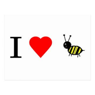 I heart bees post card