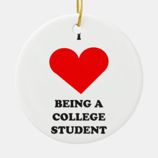 I HEART being a college student! Double-Sided Ceramic Round Christmas Ornament