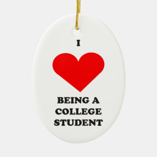 I HEART being a college student! Double-Sided Oval Ceramic Christmas Ornament