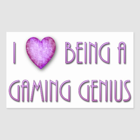 I Heart Being A Gaming Genius Rectangular Sticker