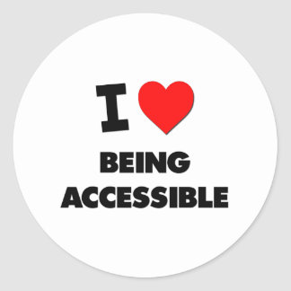 I Heart Being Accessible Round Sticker