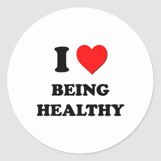 I Heart Being Healthy Classic Round Sticker