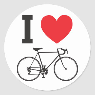 I Heart Bicycle Classic Round Sticker