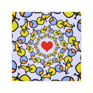 I heart bicycles color design canvas print